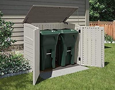 Portable Shed-Garbage Shed- Vanilla Stoney Resin 34 Cubic Feet Storage Capacity - Outdoor Storage Space For Storing Your Important Belongings