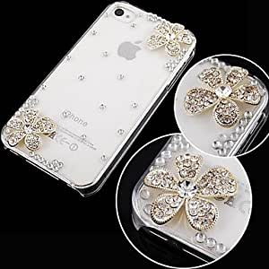 SJT Flower with Diamond Back Case for iPhone 4/4S