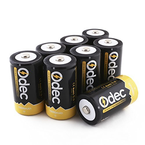 Odec D Cell Rechargeable Batteries, 8-Pack 10000mAh Deep Cycle NiMH Battery by Odec