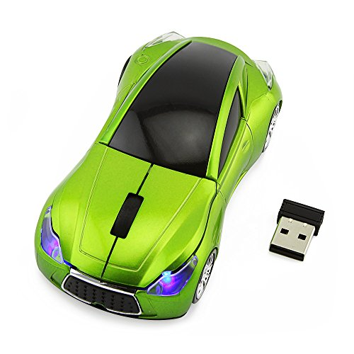 Usbkingdom Cool Sport Car Shape 2.4GHz Wireless Mouse Optical Cordless Mice with USB Receiver for PC Laptop Computer 1600DPI 3 Buttons (Wheel Optical Trackball)