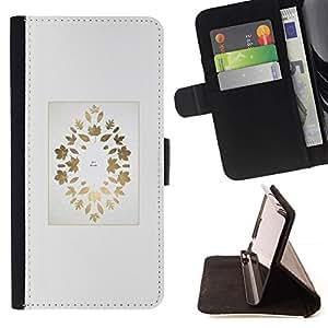 For Samsung Galaxy J3(2016) J320F J320P J320M J320Y Case , Gold Maple Leaf Autumn Leaves minimalista- la tarjeta de Crédito Slots PU Funda de cuero Monedero caso cubierta de piel