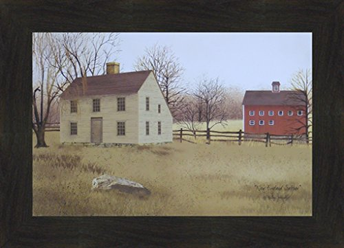 Saltbox House Folk Art (New England Saltbox by Billy Jacobs 16x22 Country Houses Primitive Folk Art Print Framed Picture (2