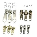 MonkeyJack 22 Pieces Fix Zipper Repair Kit Metal Plastic Spiral Zip Slider Stop Replacement
