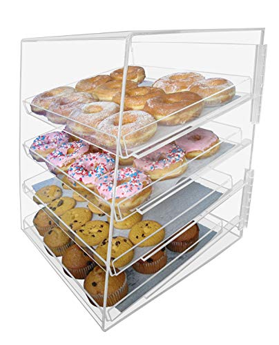 Marketing Holders Acrylic Pastry Bakery Donut Bagels Cookie Display Case w/4 trays