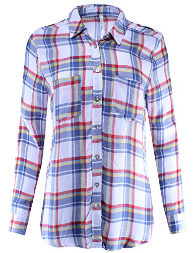 Denim Gingham (Ladies' Code Plaid Button Down Shirt Blouse with Roll up Sleeves Relaxed Fit Denim Tomato 2XL Size)
