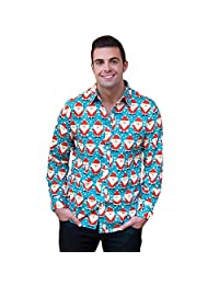 Romacci Autumn Men Christmas Shirt Cartoon Long Sleeve Dress Shirt Casual Top