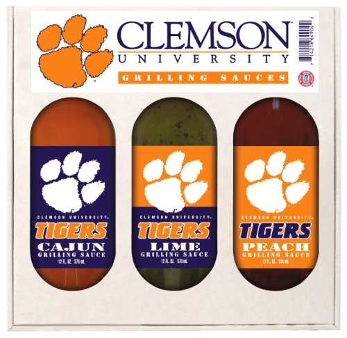 8 Pack CLEMSON Tigers Grilling Gift Set 3-12 oz by Hot Sauce Harry's