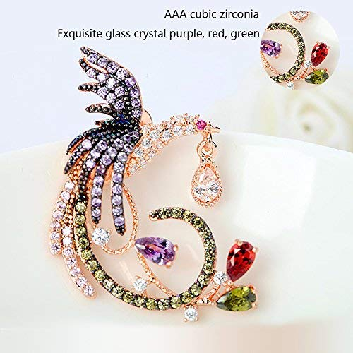 Best for Bridesmaid Gifts Cubic Zirconia Stud Earrings For Women Fashion Phoenix Hypoallergenic Earrings with Crystal Dangle
