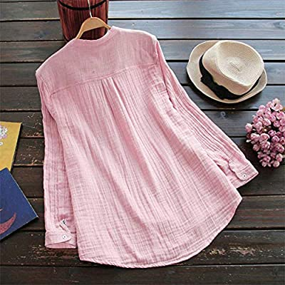 POQOQ Tops T Shirt Women Stand Collar Long Sleeve Casual Loose Tunic Blouse