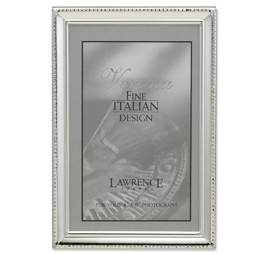 galleon lawrence frames polished silver plate 4x6 picture frame bead border design. Black Bedroom Furniture Sets. Home Design Ideas
