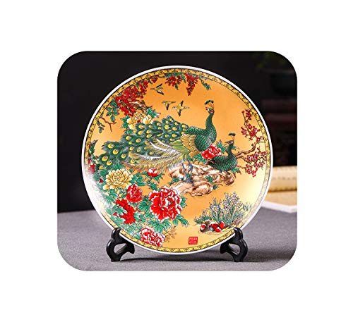 Peacock Oval Vase - Little-Goldfish vases Modern Home Decor Ceramic Ornamental Plate Peacock Chinese Decoration Lovely Scenery Plate Set Setting Wall,Golden