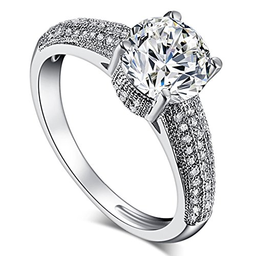 Veunora 925 Sterling Silver Created White Topaz Filled Proposal Engagement Ring for Women Size 6