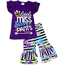 Angeline Boutique Girls Spring Summer Floral Little Miss Sassy Pants Capri Set - Back To School Outfit