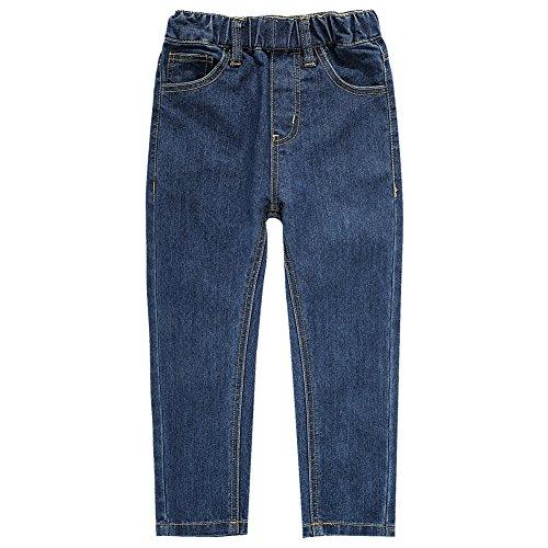 UNACOO Boys' Jeans Elastic Waistband Denim Pants(bluedict s(5-6T)) ()