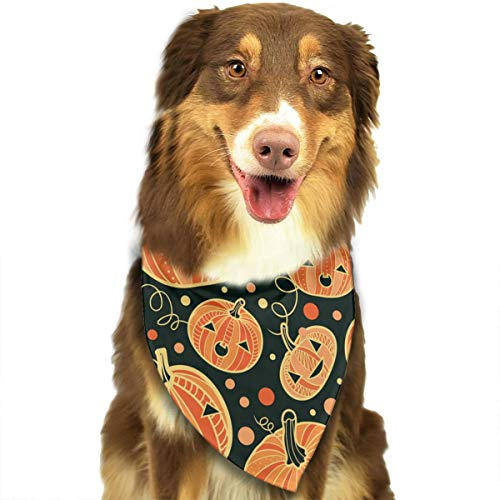 Pet Dog Bandana Scarf Pack Triangle Bibs Halloween Pumpkin Patterns Printing Kerchief Set Accessories for Small to Large Dogs Cats Pets ()