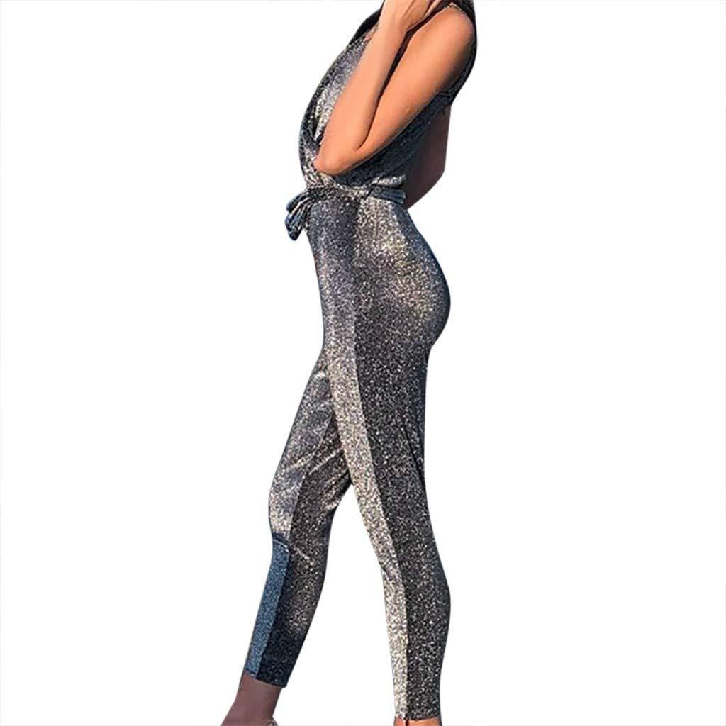 Ladies Fashion Elegant Jumpsuit Women Jumpsuits Elegant Sequin,Casual V-Neck Halter Sparkly Rompers with Belt Silver S