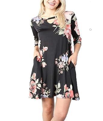 3e8525d21acaca RBBK Women's 3/4 Sleeve Wrinkle Free Jersey Style Swing Print Dress (Black  Floral