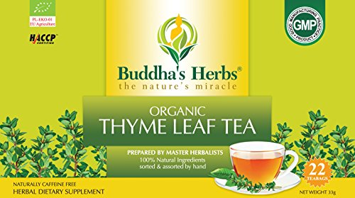 Buddha's Herbs Premium Organic Thyme Leaf Tea, 44 Tea Bags (Pack of 2)