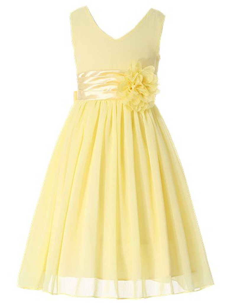 Bow Dream Flower Girl Dress Junior Bridesmaids V-Neckline Chiffon Yellow 7