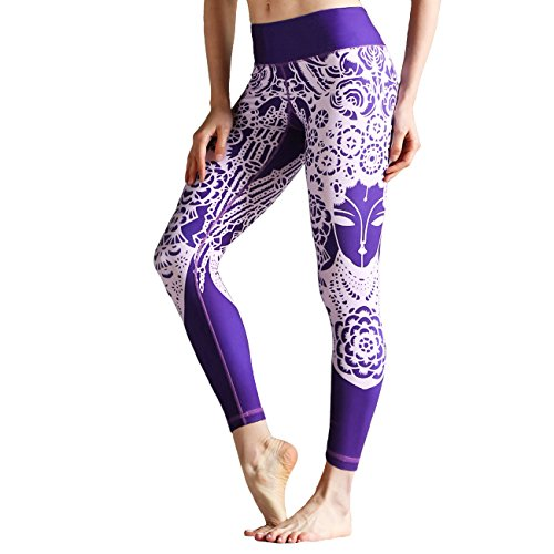 DYZD Stripe Workout Active Legging Pants High Stretchy Sport Gym Fitness Women Activewear (Purpe,Large) Purple