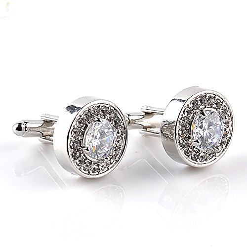 Round Crystal Cufflinks (AOASK Simple and Elegant Diamond-Studded Men's Crystal Round Shirt Cufflinks (White))