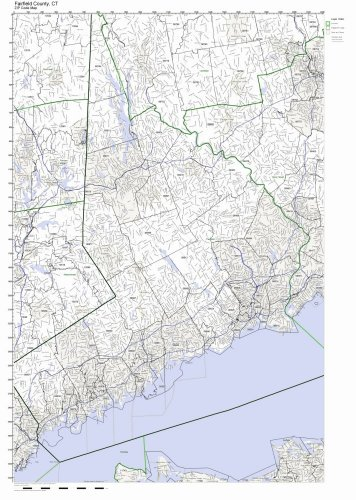 Fairfield County, Connecticut CT ZIP Code Map Not Laminated