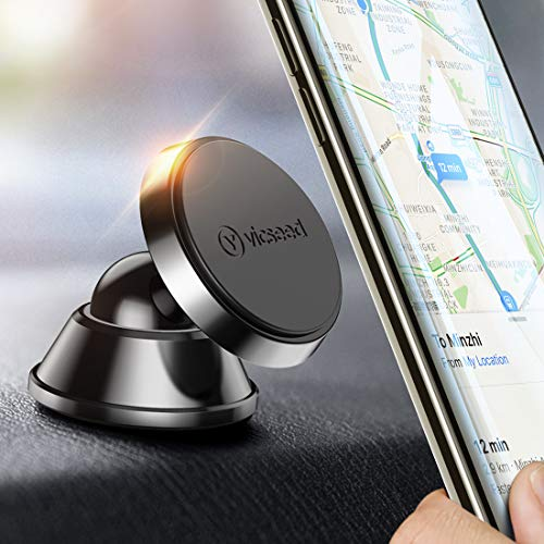 Magnetic Phone Car Mount, VICSEED 360°Rotation Cell Phone Holder for Car Dashboard Universal Magnet Car Phone Mount Compatible with iPhone Xs Max XR X 8 7 Plus, Samsung Galaxy Note 9 S10 S9 S8 Plus ()