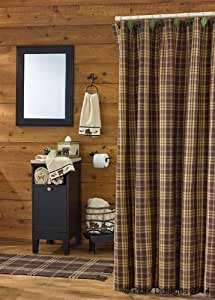 Amazon Com Rustic Retreat Shower Curtain Brown Rust Tan