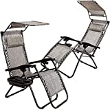 Set of 2 Zero Gravity Outdoor Lounge Chairs w/ Sunshade +Cup Holder with Mobile Device Slot...
