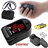 CONTEC CMS50DL Black Pulse Oximeter with Neck/wrist Cord, Carrying Case and Batteries