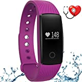 wonlex Fitness Tracker with Heart Rate Monitor,IP67 Waterproof Sports Pedometer Activity Tracker Smart Bracelet Watch for Women Men and Kids (Purple)