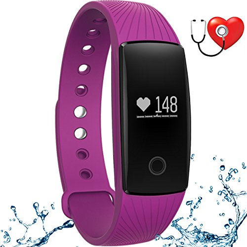 wonlex Fitness Tracker with Heart Rate Monitor,IP67 Waterproof Sports Pedometer Activity Tracker Smart Bracelet Watch for Women Men and Kids (Purple) by wonlex