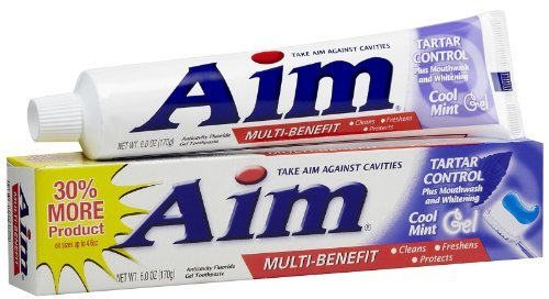 Aim Tartar Control Plus Mouthwash and Whitening Anticavity Fluoride Toothpaste, Cool Mint Gel, 6 Oz (Pack of 6)