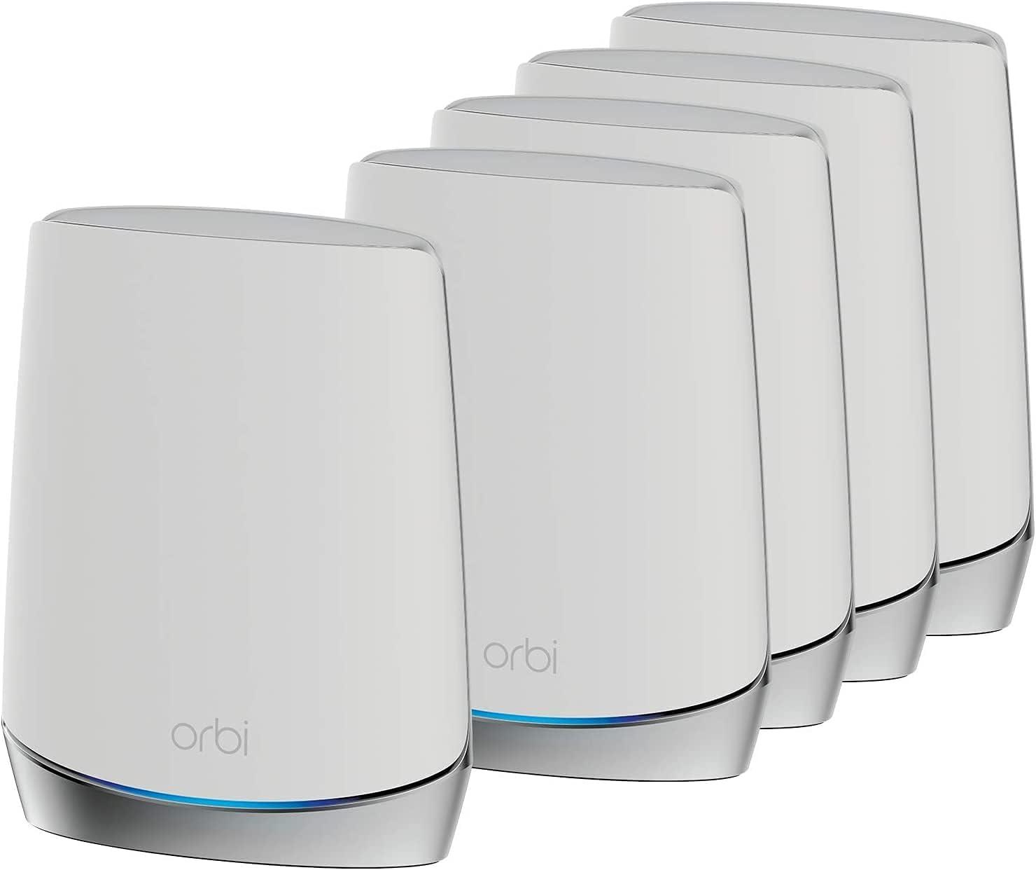 NETGEAR Système WiFi 6 Mesh Tri Bandes Orbi (RBK755), Pack de 5,...