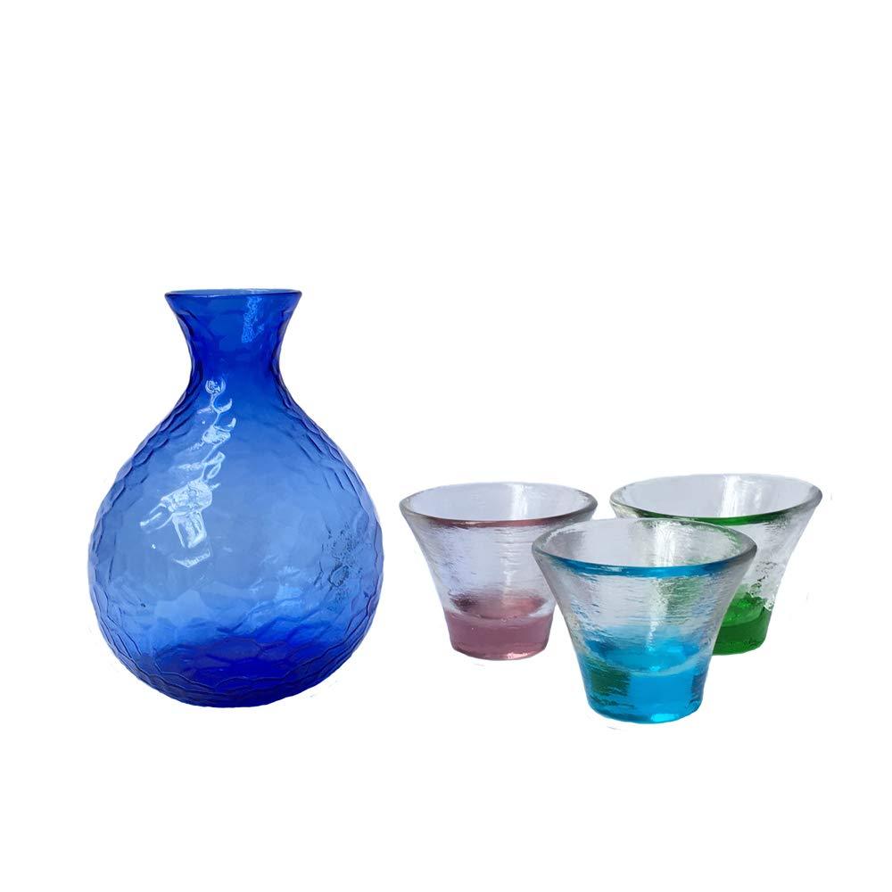 KCHAIN Cold Glass Sake Set with 1PC Blue Sakse Pot and 3 Different Color Sake Cups