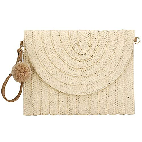Natural Straw Clutch Bag Shoulder Bag Handbag for Women Straw Woven Large Purse Bag (Beige)
