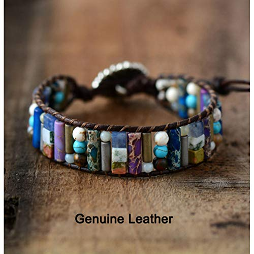 WODESHENGRI Bracelet,Fashion Charm Women Boho Bracelet Tube Shape Stone Single Leather Wrap Bracelet Semi Precious Stone Beaded Cuff - Bracelet Mothers Personalized Semi Precious