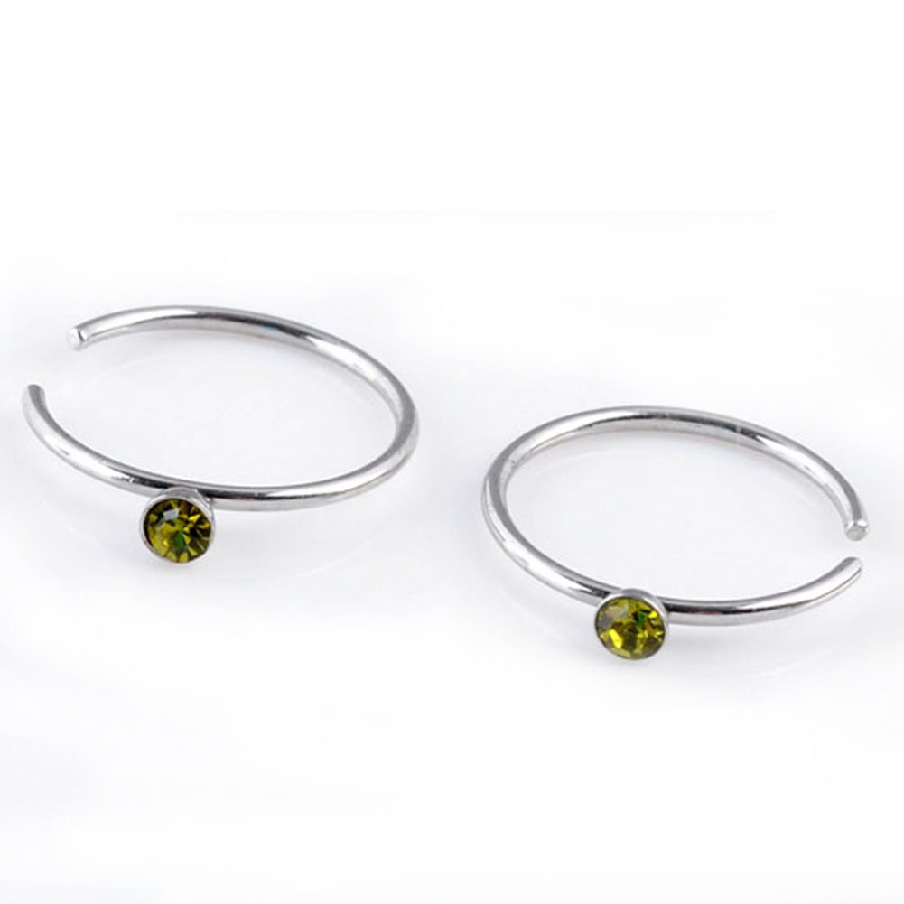 PiercingJ 10pcs 22G 8MM Non-Piercing Stainless Steel Round Czech Crystal Hoop Loop Fake Nose Ring