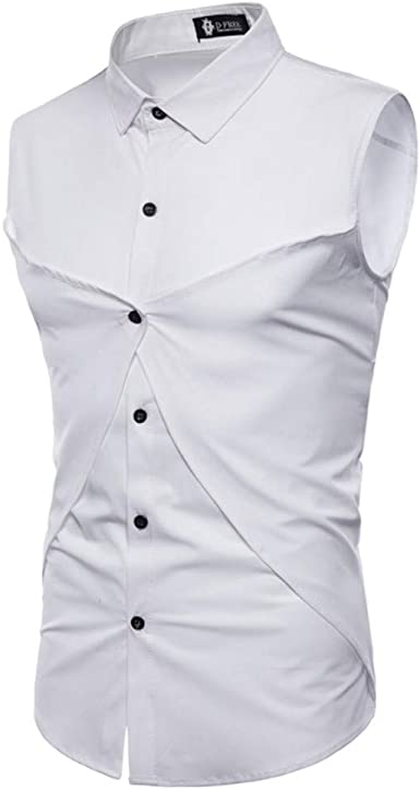 Camisa Sin Mangas A Medida del Color Sólido De La Personalidad De Los Hombres Camisa del Color Sólido De La Marea De Los Hombres Desgaste De Los Hombres, XL: Amazon.es: Ropa y