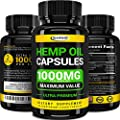 Hemp Oil Capsules - 1000 MG of Pure Hemp Extract - Pain, Stress & Anxiety Relief - Natural Sleep & Mood Support - Made in The USA - Extra Strength, Maximum Value - Rich in Omega 3, 6, 9