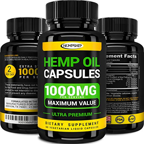 - Hemp Oil Capsules - 1000 MG of Pure Hemp Extract per Serving - Pain, Stress & Anxiety Relief - Natural Sleep & Mood Support - Made in The USA - Extra Strength, Maximum Value - Rich in Omega 3, 6, 9.