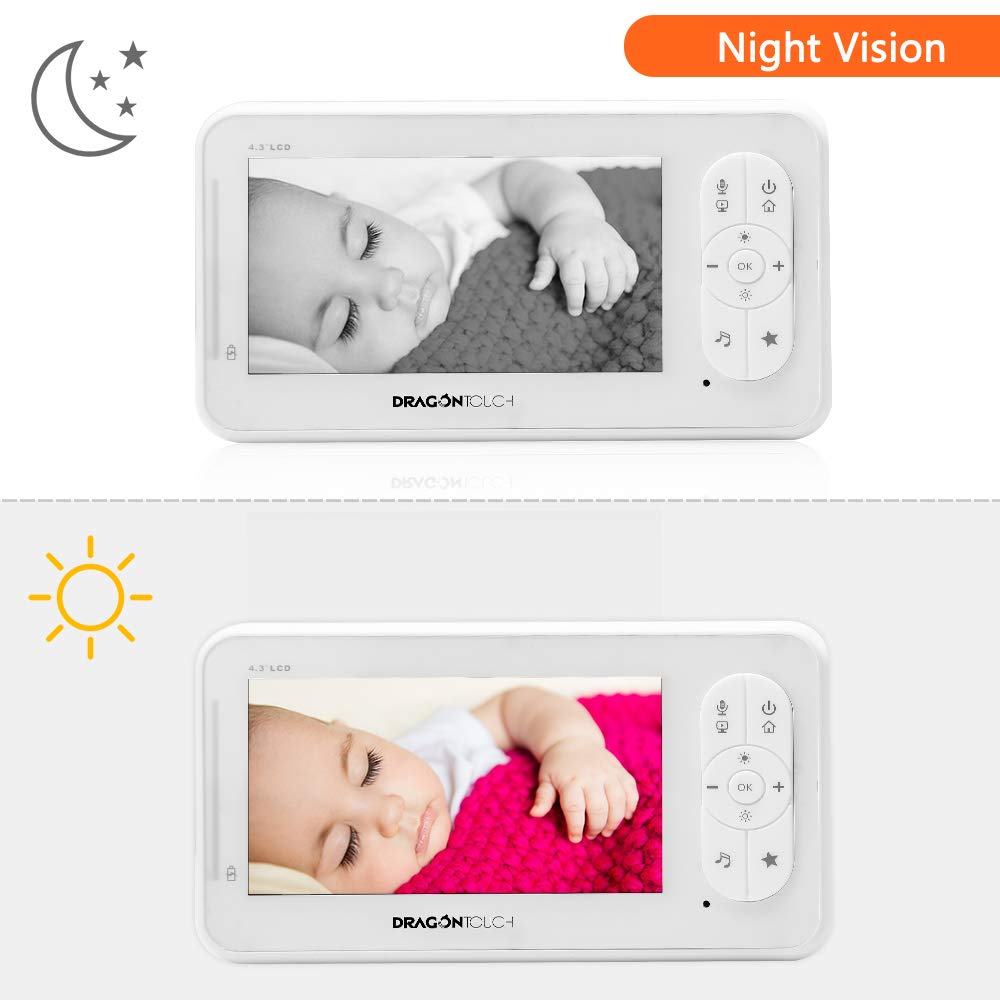 Dragon Touch Vigilabeb/és Inal/ámbrico Beb/é Monitor Inteligente con LCD 4.3 C/ámara Vigilancia Visi/ón Nocturna Sensor de Temperatura Nanas Comunicaci/ón Bidireccional Ampliable a 4 Cameras DT40