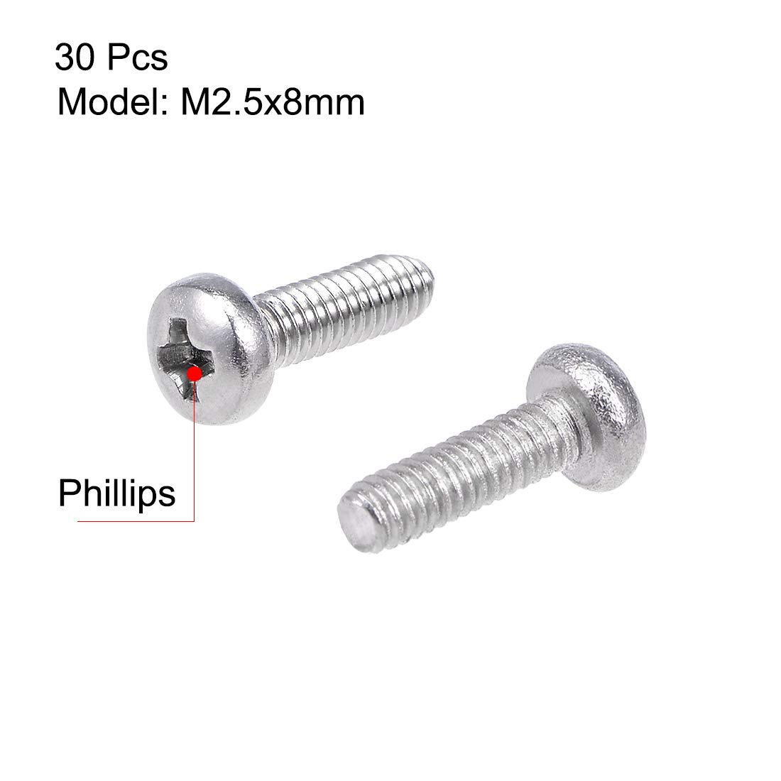 uxcell a15070200ux0102 M3 x 50mm 304 Stainless Steel Phillips Pan Head Screws Bolt Pack of 60