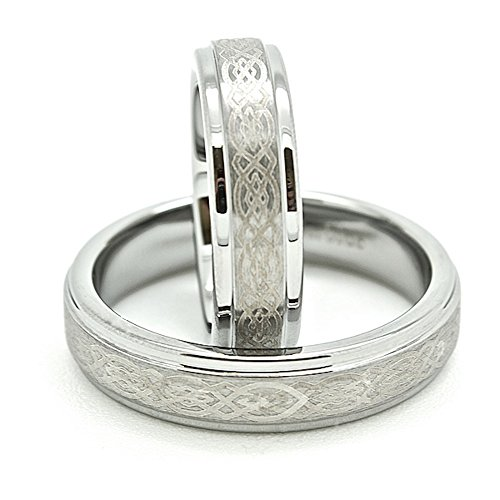 Matching 5mm Tungsten Wedding Bands w/ Celtic Knot Design (Us Sizes 4-15) by Blue Chip Unlimited