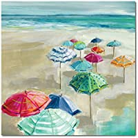 """Courtside Market Umbrella Beach I 16"""" x16"""" Gallery-Wrapped Canvas Wall Art - Marine, Maritime, Navigational, Oceangoing, Admiralty, Blue, Red, White, Green, 16x16, Multi Color"""
