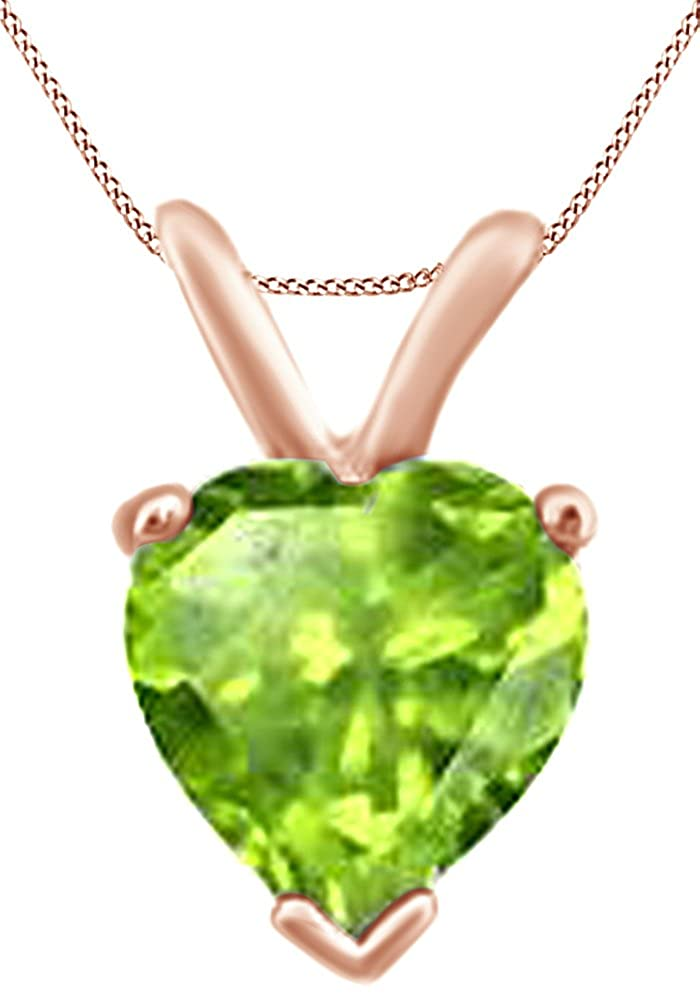 AFFY Heart Shape Solitaire Simulated Peridot Pendant Necklace in 14k Gold Over Sterling Silver 3.5 Cttw