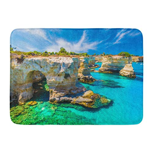 OUTDRART Bath Mat Scenic Blue Otranto Torre Sant' Andrea Salento Coast Puglia Region Italy Landscape Beach Bathroom Decor Rug 16