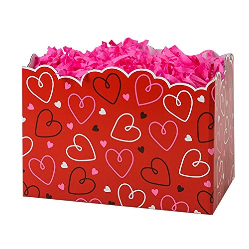 Large Doodle Hearts Basket Boxes - 10 1/4 x 6 x 7 1/2in. - 36 Pack by NW