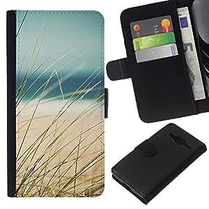 WINCASE Cuadro Funda Voltear Cuero Ranura Tarjetas TPU Carcasas Protectora Cover Case Para Samsung Galaxy Core Prime - hierba de la playa de arena de mar vista de verano