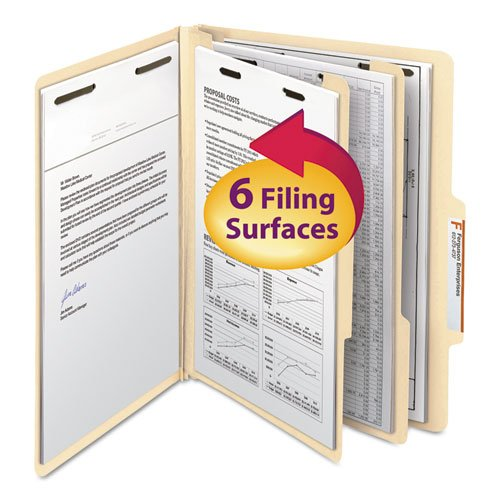 Manila Classification Folders with 2/5 Right Tab, Letter, Six-Section, 10/Box, Sold as 10 Each